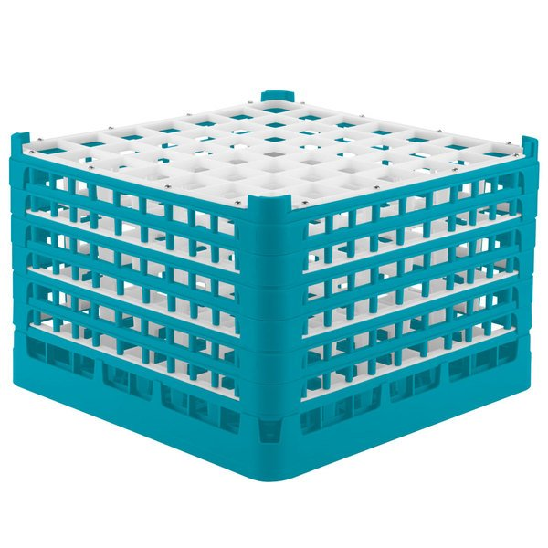 """Vollrath 52740 Signature Full-Size Light Blue 49-Compartment 11 3/8"""" XXXX-Tall Glass Rack Main Image 1"""