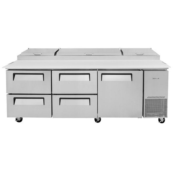 "Turbo Air TPR-93SD-D4-N 93"" Pizza Prep Table with1 Door and 4 Drawers Main Image 1"