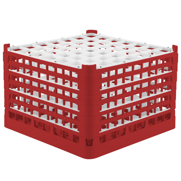 """Vollrath 52740 Signature Full-Size Red 49-Compartment 11 3/8"""" XXXX-Tall Glass Rack Main Image 1"""