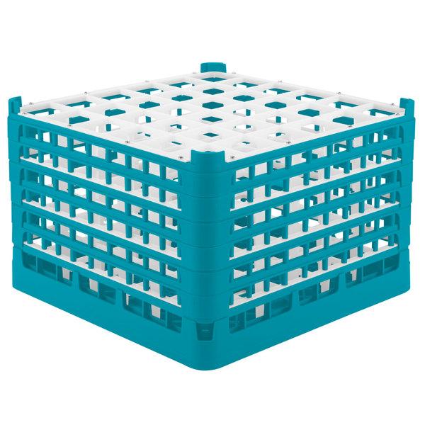 "Vollrath 52739 Signature Full-Size Light Blue 36-Compartment 11 3/8"" XXXX-Tall Glass Rack"