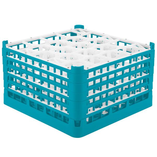 "Vollrath 52755 Signature Lemon Drop Full-Size Light Blue 20-Compartment 10 9/16"" XXX-Tall Plus Glass Rack"