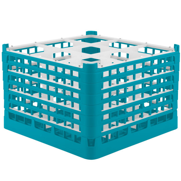 "Vollrath 52736 Signature Full-Size Light Blue 9-Compartment 11 3/8"" XXXX-Tall Glass Rack"