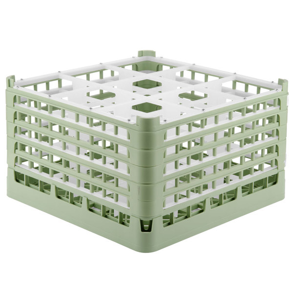 "Vollrath 52731 Signature Full-Size Light Green 9-Compartment 9 15/16"" XXX-Tall Glass Rack"