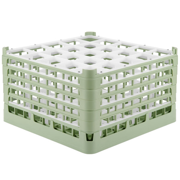 "Vollrath 52733 Signature Full-Size Light Green 25-Compartment 9 15/16"" XXX-Tall Glass Rack Main Image 1"
