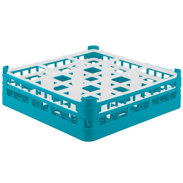 """Vollrath 52761 Signature Full-Size Light Blue 9-Compartment 4 13/16"""" Medium Plus Glass Rack Main Image 1"""