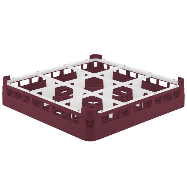 "Vollrath 5276099 Signature Full-Size Burgundy 9-Compartment 3 1/4"" Short Plus Glass Rack"