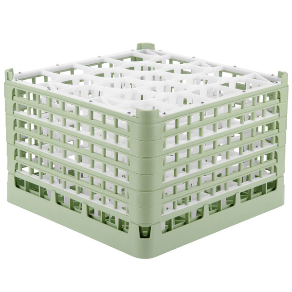 "Vollrath 52757 Signature Lemon Drop Full-Size Light Green 20-Compartment 11 3/8"" XXXX-Tall Glass Rack Main Image 1"