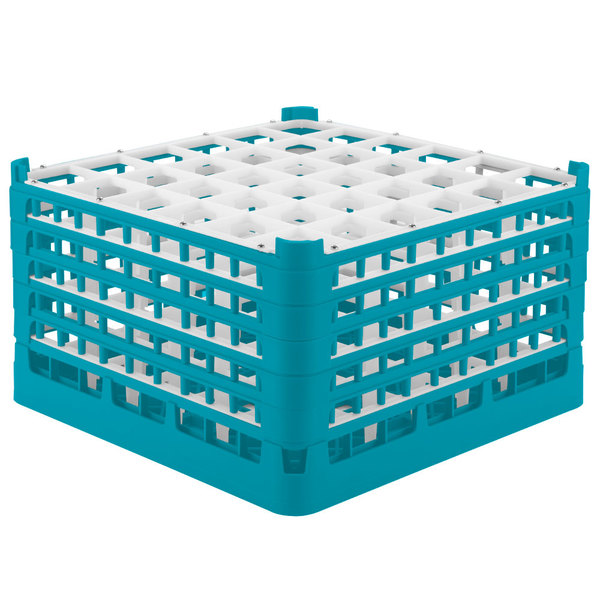 "Vollrath 52734 Signature Full-Size Light Blue 36-Compartment 9 15/16"" XXX-Tall Glass Rack Main Image 1"