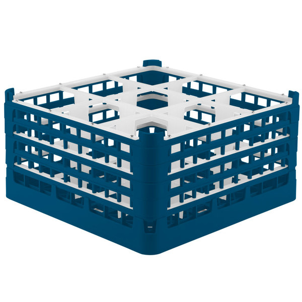 """Vollrath 52729 Signature Full-Size Royal Blue 9-Compartment 8 1/2"""" XX-Tall Glass Rack Main Image 1"""