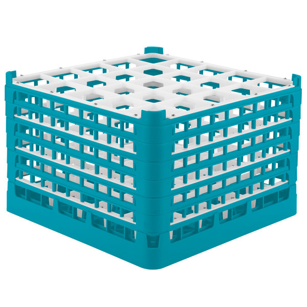 """Vollrath 52738 Signature Full-Size Light Blue 25-Compartment 11 3/8"""" XXXX-Tall Glass Rack Main Image 1"""