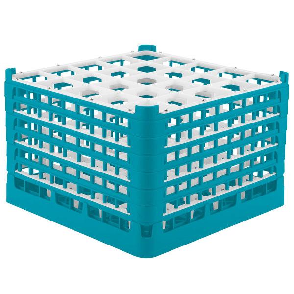 "Vollrath 52738 Signature Full-Size Light Blue 25-Compartment 11 3/8"" XXXX-Tall Glass Rack"