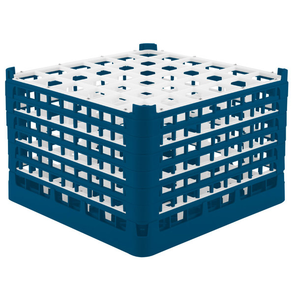 """Vollrath 52739 Signature Full-Size Royal Blue 36-Compartment 11 3/8"""" XXXX-Tall Glass Rack Main Image 1"""