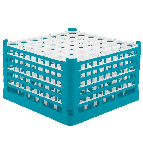 "Vollrath 52735 Signature Full-Size Light Blue 49-Compartment 9 15/16"" XXX-Tall Glass Rack"