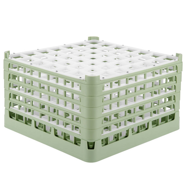 "Vollrath 52735 Signature Full-Size Light Green 49-Compartment 9 15/16"" XXX-Tall Glass Rack"
