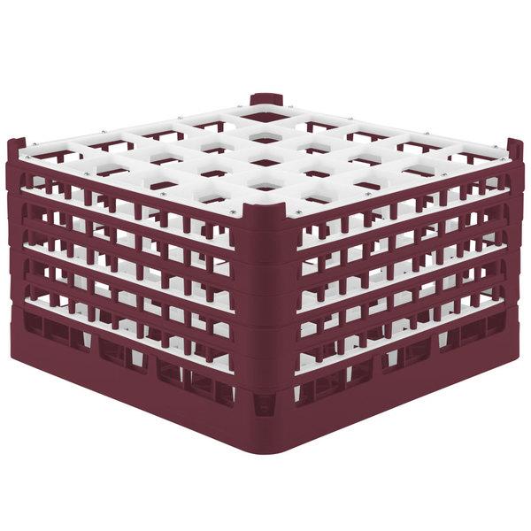 "Vollrath 52733 Signature Full-Size Burgundy 25-Compartment 9 15/16"" XXX-Tall Glass Rack"