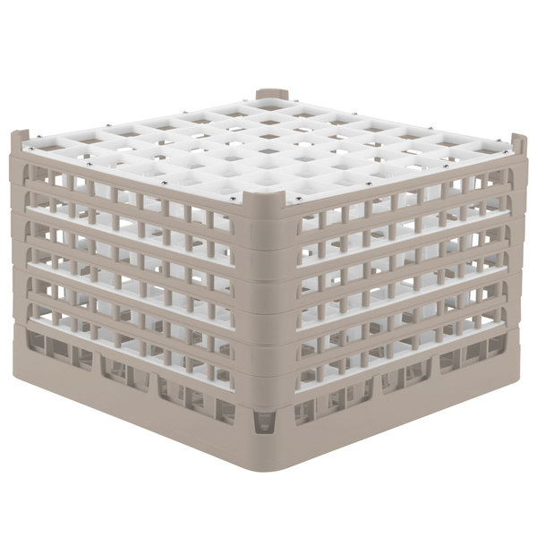"Vollrath 52740 Signature Full-Size Beige 49-Compartment 11 3/8"" XXXX-Tall Glass Rack"