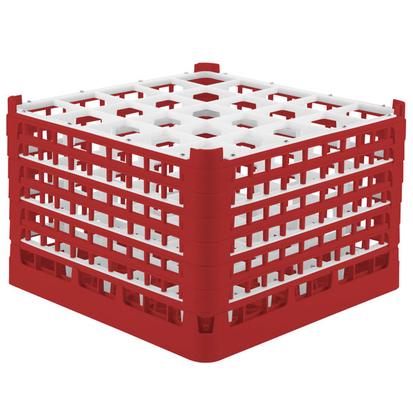 "Vollrath 52738 Signature Full-Size Red 25-Compartment 11 3/8"" XXXX-Tall Glass Rack"
