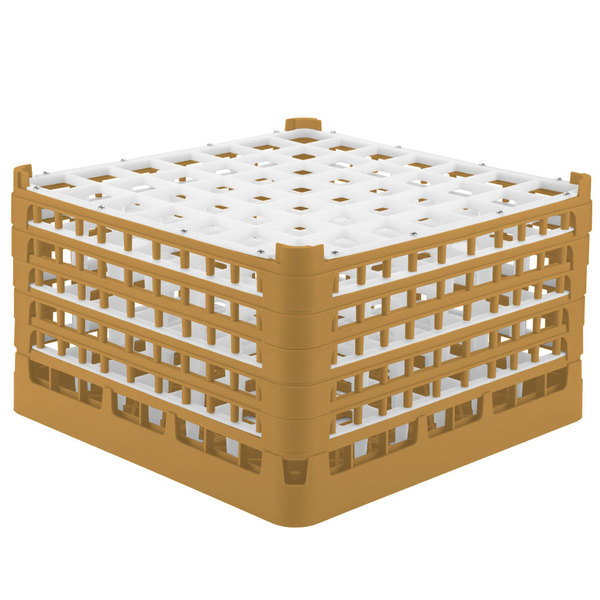 "Vollrath 52735 Signature Full-Size Gold 49-Compartment 9 15/16"" XXX-Tall Glass Rack"