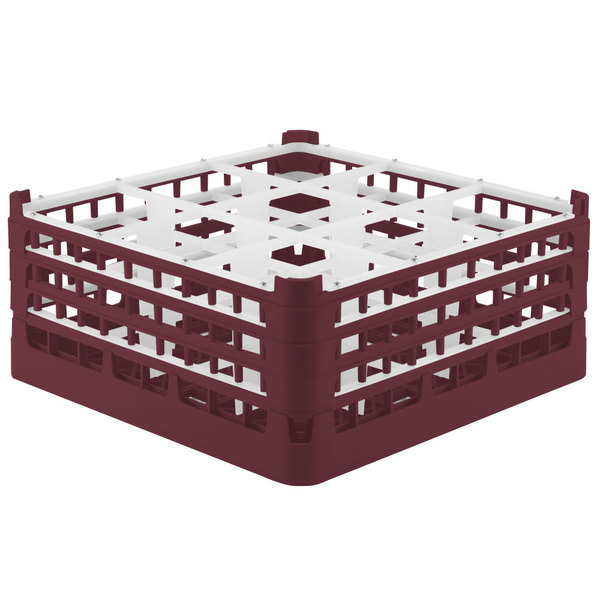 "Vollrath 52730 Signature Full-Size Burgundy 9-Compartment 7 1/8"" X-Tall Glass Rack"