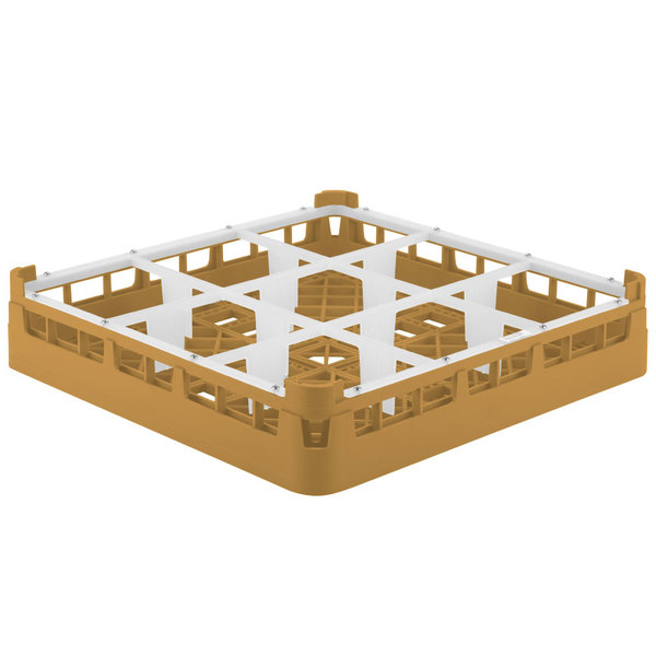 "Vollrath 5276055 Signature Full-Size Gold 9-Compartment 3 1/4"" Short Plus Glass Rack"
