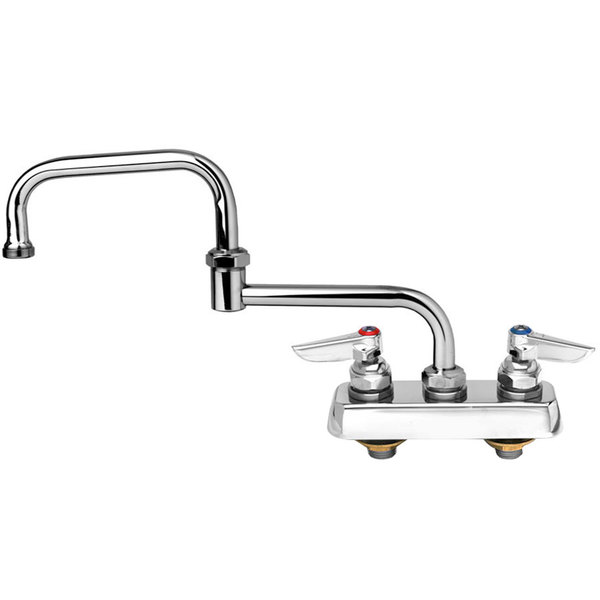 """T&S B-1131 Deck Mounted Workboard Faucet with 4"""" Centers - 18"""" Double Jointed Swing Nozzle"""