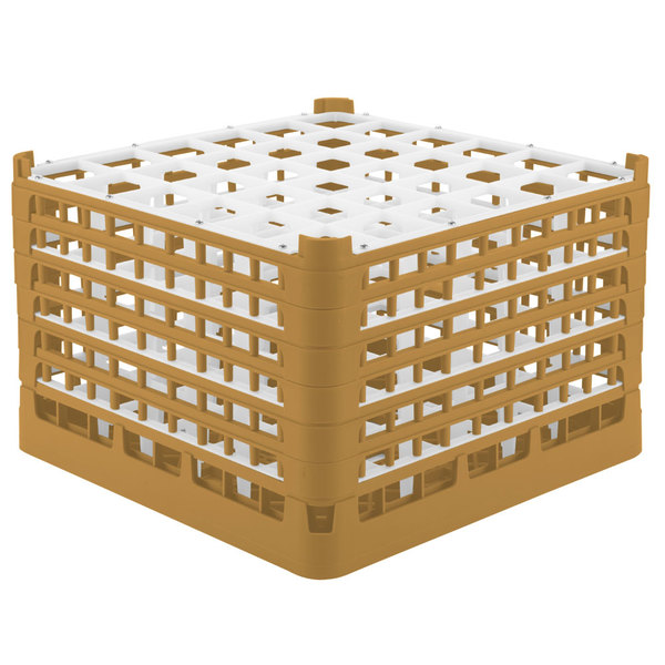 """Vollrath 52739 Signature Full-Size Gold 36-Compartment 11 3/8"""" XXXX-Tall Glass Rack"""