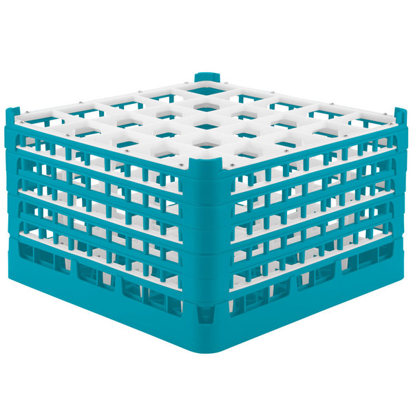 "Vollrath 52733 Signature Full-Size Light Blue 25-Compartment 9 15/16"" XXX-Tall Glass Rack"