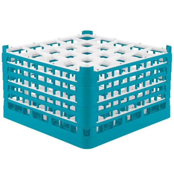"Vollrath 52733 Signature Full-Size Light Blue 25-Compartment 9 15/16"" XXX-Tall Glass Rack Main Image 1"