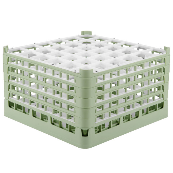"Vollrath 52734 Signature Full-Size Light Green 36-Compartment 9 15/16"" XXX-Tall Glass Rack"