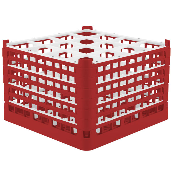 "Vollrath 52737 Signature Full-Size Red 16-Compartment 11 3/8"" XXXX-Tall Glass Rack Main Image 1"