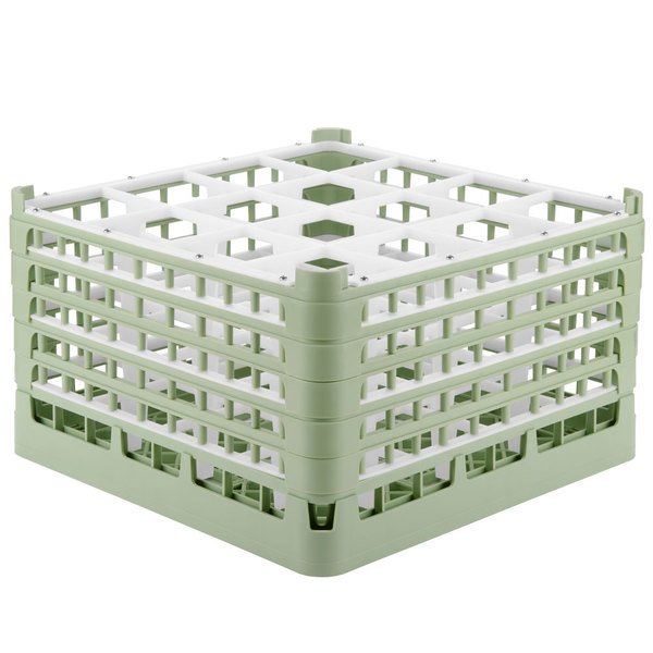 "Vollrath 52732 Signature Full-Size Light Green 16-Compartment 9 15/16"" XXX-Tall Glass Rack Main Image 1"