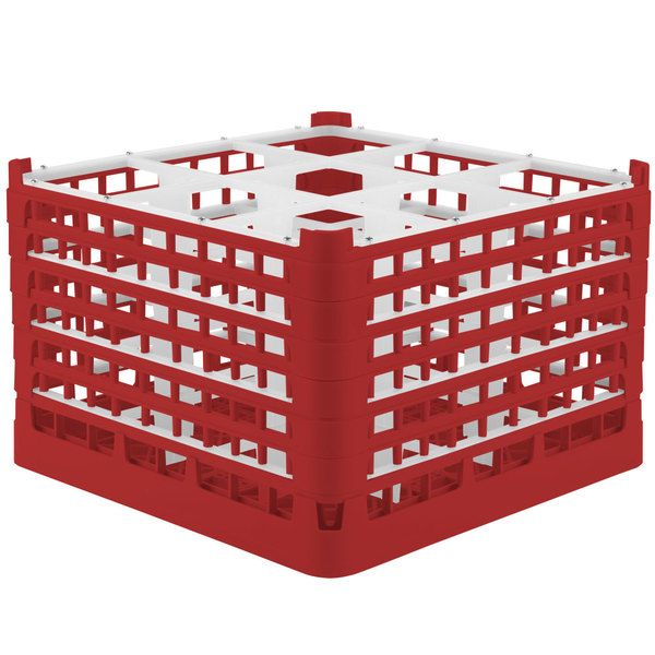 "Vollrath 52736 Signature Full-Size Red 9-Compartment 11 3/8"" XXXX-Tall Glass Rack"