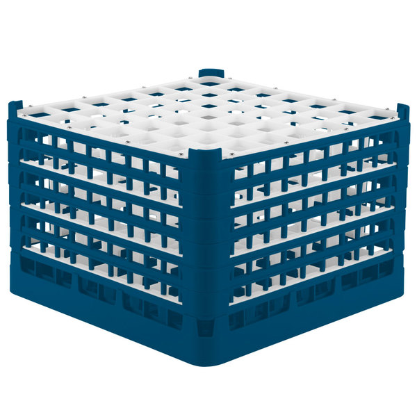 "Vollrath 52740 Signature Full-Size Royal Blue 49-Compartment 11 3/8"" XXXX-Tall Glass Rack Main Image 1"