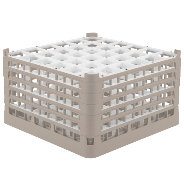 "Vollrath 52734 Signature Full-Size Beige 36-Compartment 9 15/16"" XXX-Tall Glass Rack Main Image 1"