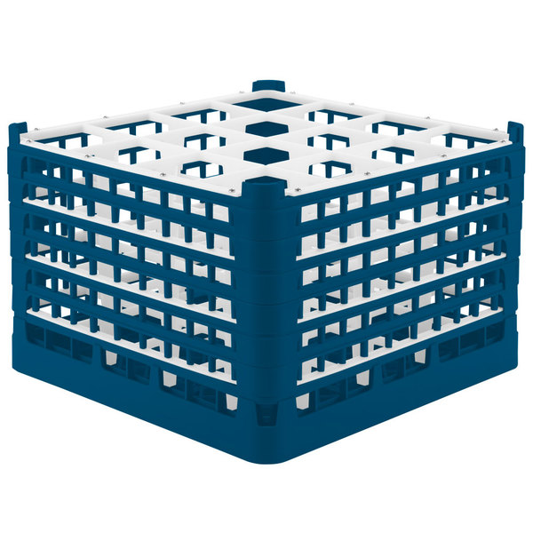 "Vollrath 52737 Signature Full-Size Royal Blue 16-Compartment 11 3/8"" XXXX-Tall Glass Rack Main Image 1"