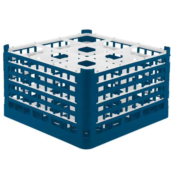 "Vollrath 52731 Signature Full-Size Royal Blue 9-Compartment 9 15/16"" XXX-Tall Glass Rack"