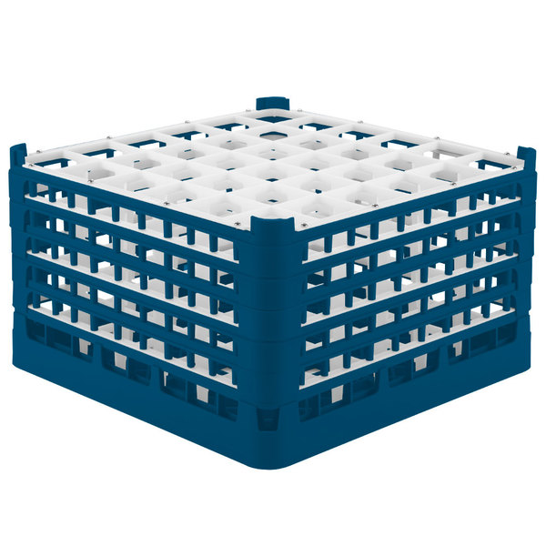 """Vollrath 52734 Signature Full-Size Royal Blue 36-Compartment 9 15/16"""" XXX-Tall Glass Rack"""