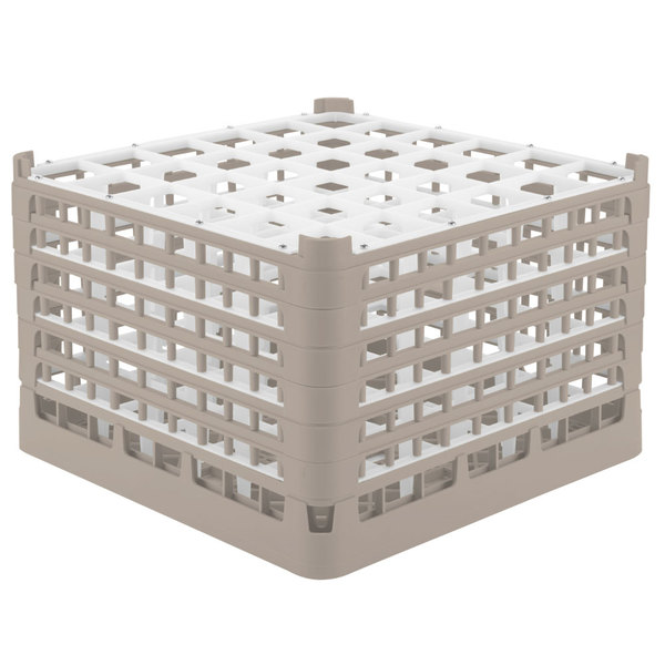 """Vollrath 52739 Signature Full-Size Beige 36-Compartment 11 3/8"""" XXXX-Tall Glass Rack Main Image 1"""
