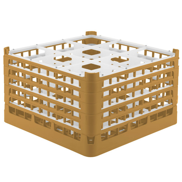 """Vollrath 52731 Signature Full-Size Gold 9-Compartment 9 15/16"""" XXX-Tall Glass Rack"""