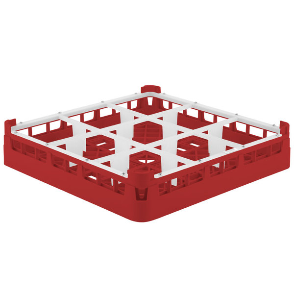 "Vollrath 5276033 Signature Full-Size Red 9-Compartment 3 1/4"" Short Plus Glass Rack Main Image 1"