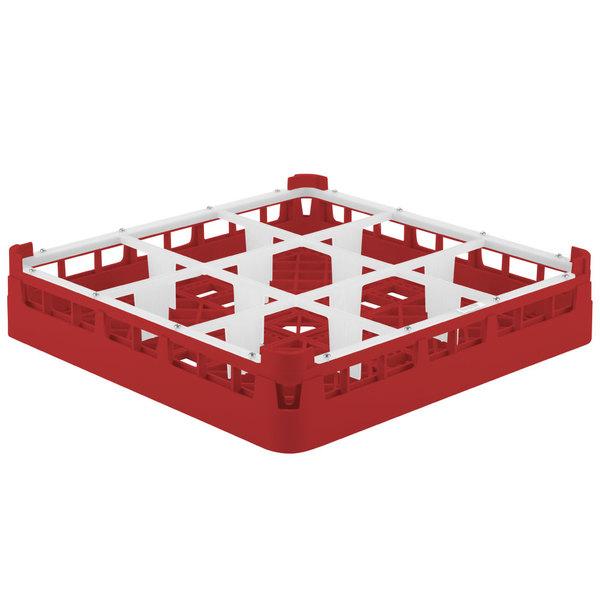 "Vollrath 5276033 Signature Full-Size Red 9-Compartment 3 1/4"" Short Plus Glass Rack"