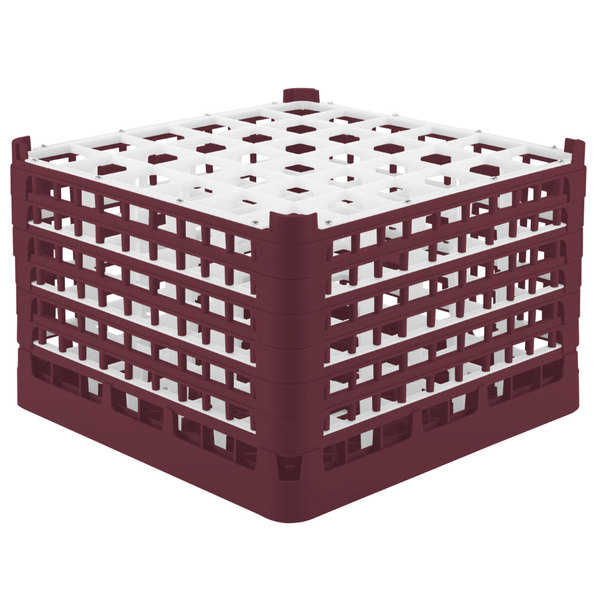 """Vollrath 52739 Signature Full-Size Burgundy 36-Compartment 11 3/8"""" XXXX-Tall Glass Rack Main Image 1"""