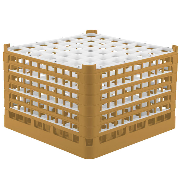 "Vollrath 52740 Signature Full-Size Gold 49-Compartment 11 3/8"" XXXX-Tall Glass Rack Main Image 1"