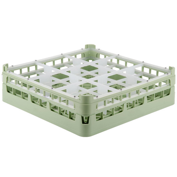 "Vollrath 52761 Signature Full-Size Light Green 9-Compartment 4 13/16"" Medium Plus Glass Rack Main Image 1"