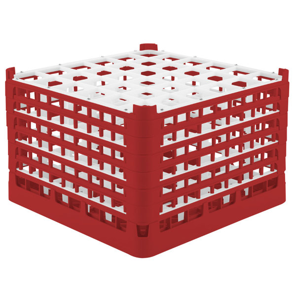"Vollrath 52739 Signature Full-Size Red 36-Compartment 11 3/8"" XXXX-Tall Glass Rack"