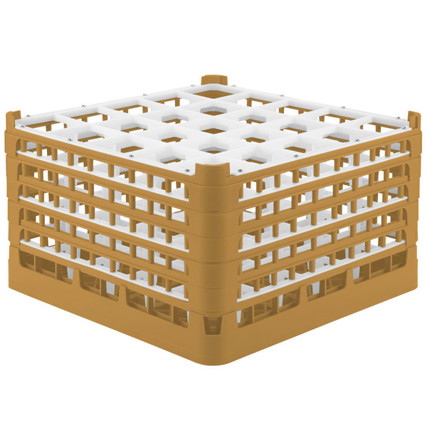 "Vollrath 52733 Signature Full-Size Gold 25-Compartment 9 15/16"" XXX-Tall Glass Rack"