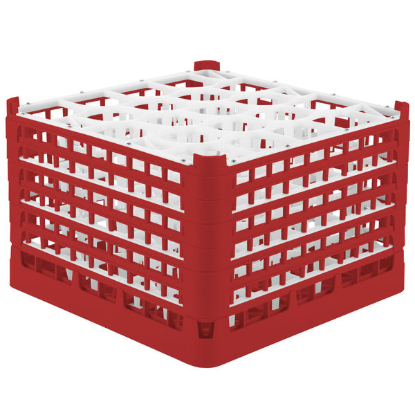 "Vollrath 52757 Signature Lemon Drop Full-Size Red 20-Compartment 11 3/8"" XXXX-Tall Glass Rack"
