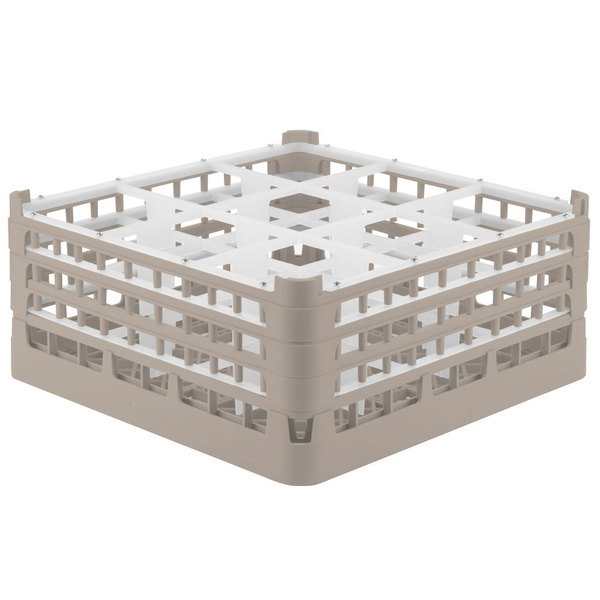 """Vollrath 52730 Signature Full-Size Beige 9-Compartment 7 1/8"""" X-Tall Glass Rack Main Image 1"""