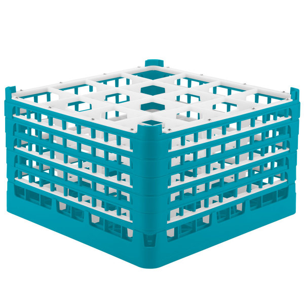 "Vollrath 52732 Signature Full-Size Light Blue 16-Compartment 9 15/16"" XXX-Tall Glass Rack"