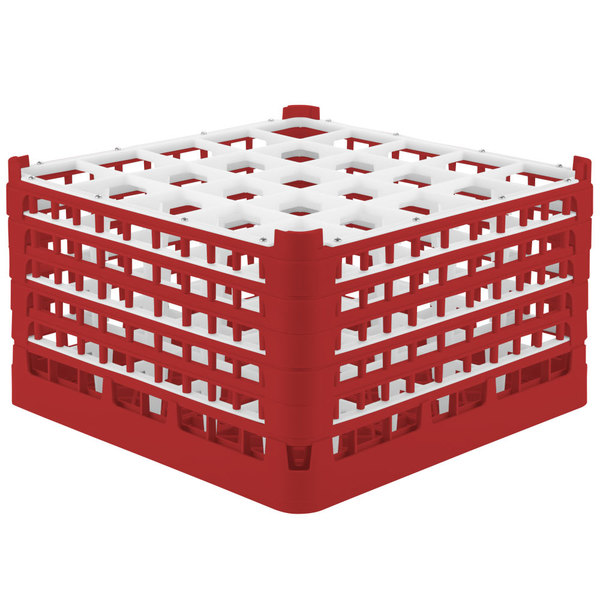"""Vollrath 52733 Signature Full-Size Red 25-Compartment 9 15/16"""" XXX-Tall Glass Rack"""